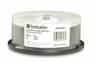 Verbatim Blu-Ray BD-R DL 97284 50GB 6X White Thermal Printable 25-Pack Spindle