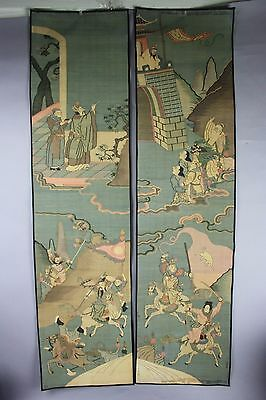 18th/19th C. Chinese Pair Silk Sided Kesis , Middle Of War