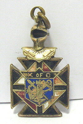 Antique Gold Filled Enamel Knights Of Columbus Fob Pendant 8.3 Grams