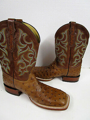 Justin Boots Men's Waxy Full Quill Ostrich Western Boots Size 11 D