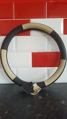 GENUINE Leather Steering Wheel Cover, Real Leather Steering Wheel Cover 37cm