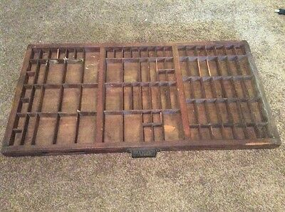 "Vtg Hamilton Wooden Typeset Printing Block Letterpress Shadow Box Drawer 32"" 89"