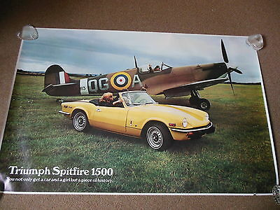 "Original British Leyland 1973 Triumph Spitfire Factory Dealer Poster 35"" by 28"""