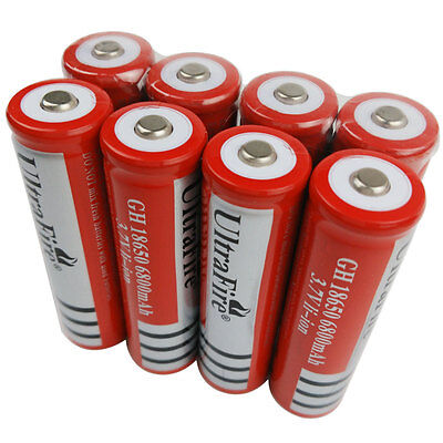 8X 3.7V 18650 Li-ion Batteries 6800mAh Rechargeable Battery for Flashlight Torch