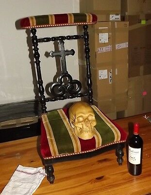 Antique French 1900 Carved Wood Gothik Kneeler Chair Butler Valet Wardrobe stand