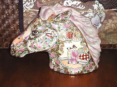 Rare Old Chinese Famille Rose 1000 Flowers Horse Head Statue Figure Figurine