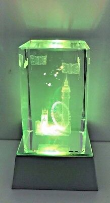 London 3D Skyline Crystal With Colourful Changing Lights - UK Gift