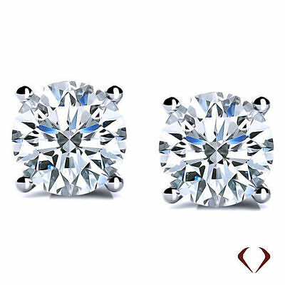 0.76 CT H SI1 Round Cut Diamond Stud Earrings 14K White Gold