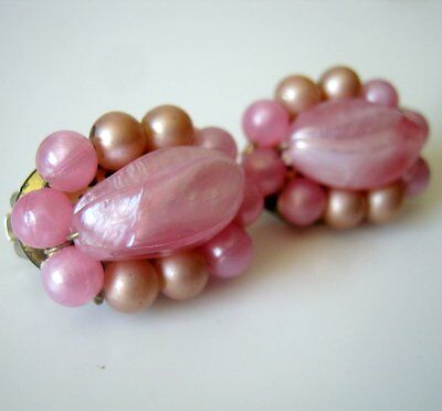 Vintage Pink Plastic Oval Clip On Earrings, Made in Western Germany