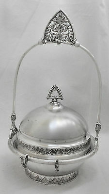 EXQUISITE! Atq WM ROGERS Quad Slv Plate Butter/Cheese Bowl, Stand & Utensil Hldr
