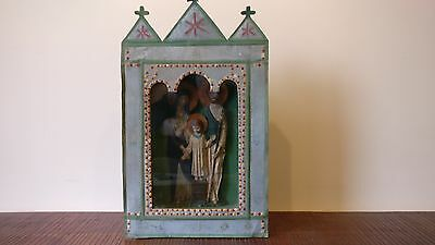 Folk art Icon carved and painted antique Eastern European early 20th century