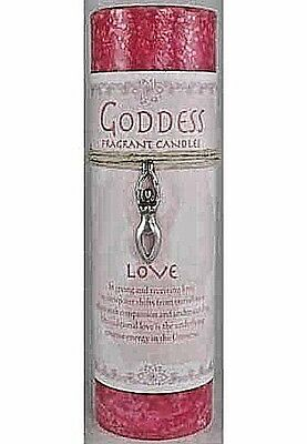 Love Pillar Candle w/ Goddess Necklace Large Wicca Pagan Spell Altar Magick Pink