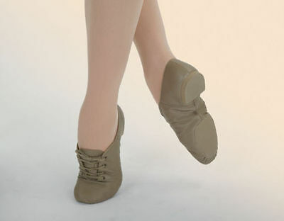 Capezio CG02 Tan Adult 4.5M (Fits Child Size 2) Lace Up Split Sole Jazz Shoe