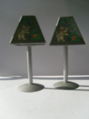 Pair Of Cat And Flowers Tea Light Candle Holders Lamp Style Nautical Decor
