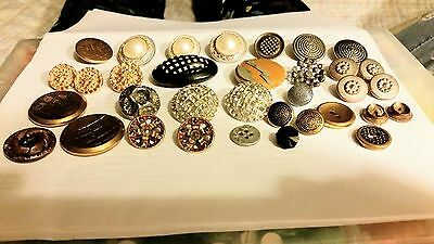 Lot Of 34 Antique & Vintage Decorative Metal Buttons Some Open Work