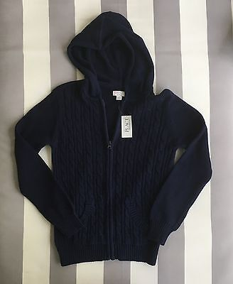 The Children's Place Girl's Long Sleeve Hoodie Zip Sweater Navy Blue Sz L *NWT