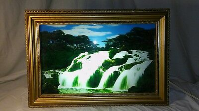 Lighted Waterfall Framed Picture Vintage Wall Art Sound Nature Birds Chirping