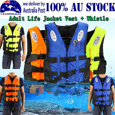 Polyester Adult Life Jacket Universal Swimming Boating Ski Vest+Whistle Good UMZ