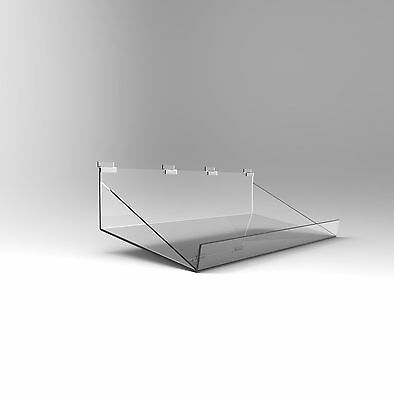 Slatwall Angled Shelf Display - Acrylic Perspex - 585mm Width