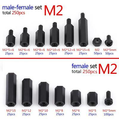 250Pcs Plastic Nylon M2 M3 Hex Column Standoff Spacer Screw Nut Assortment Kit