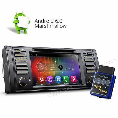"""1Din Android 6.0 7"""" For BMW E39 M5 Car DVD Stereo GPS Player Radio USB B &OBD-II"""