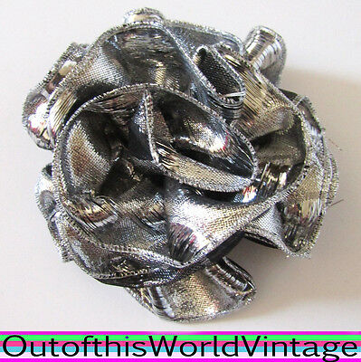 Vtg 80s Hair Bow SILVER SHINY ROSE RUFFLED BARRETTE clip GLAM ROCK PARTY 1980s