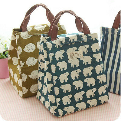 Cute Animal Portable Insulated Canvas Cooler Picnic Lunch Bag Thermal Food Tote
