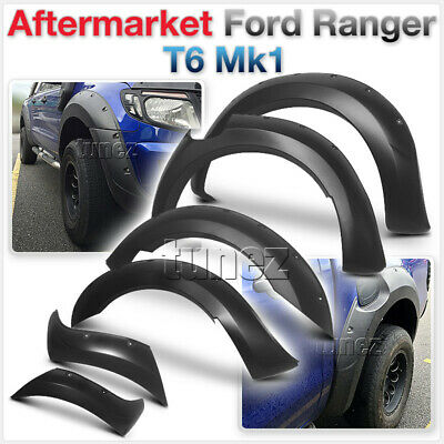 6 Pcs Complete Set Ford Ranger T6 Wide Body Wheel Arch Matte Fender Flare ABS 2G