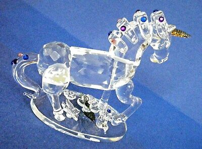 Crystal Unicorn Figurine Faceted Crystal W/colored Crystals Attached To Base