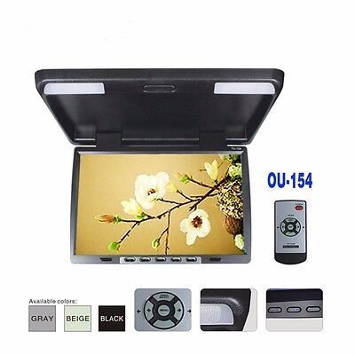 """15.4"""" HD Flip Down Auto Ceiling Overhead Roof Car LED Monitor IR TFT Wide Screen"""