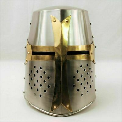 Medieval Knight Armour Crusader Templar Helmet Helm w/ Leather Liner Chin Strap