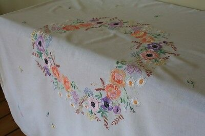Vintage White Linen Tablecloth Hand Embroidered Flowers Poppy Roses Wreath Lilac