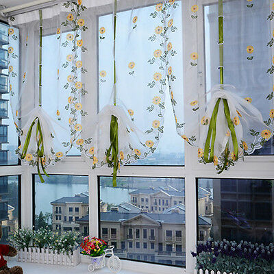 Pastoral Floral Scarf Sheer Voile Door Window Curtain Drape Panel Tulle Valances