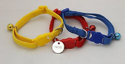 NYLON SAFETY CAT COLLAR & BELL, PET ID TAG 22mm ENGRAVED BOTH SIDES