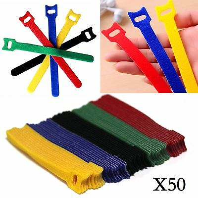 50Pcs Reusable Nylon Strap Hook and Loop Cable Cord Ties Tidy Organiser Assorted