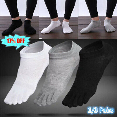 3 Pairs Men's five finger toe Breathe Socks Cotton Ankle Casual Sports Low Cut