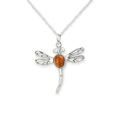 Outlander Inspired Dragonfly Silver Pendant With Amber 9651