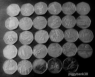 2011 Royal Mint London 2012 Olympic 50p Fifty Pence Coins - Sports Collection