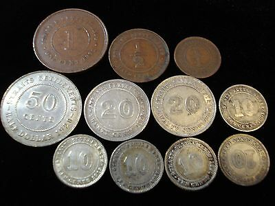 Straits Settlement Bulk Lot Inc 1920 50 C Silver Coin 1/4 1/2 10 20 Cents  #NLB1