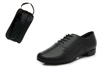 Men's Black Leather Ballroom Dance Shoes Brand New With Shoe Bag