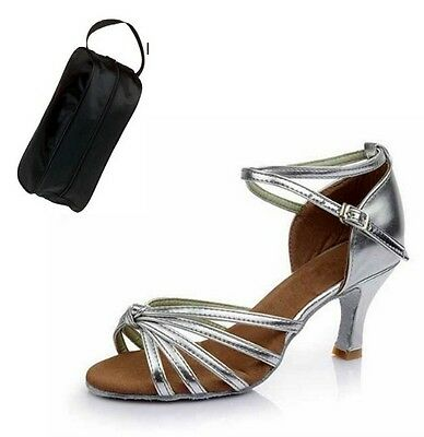 New Women's Silver Ballroom Latin Salsa Dance Shoes *with Shoe Bag*