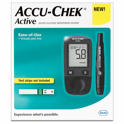 Blood Glucose Meter Accu-Chek Active Kit New + 10 Test Strips Free Shipping