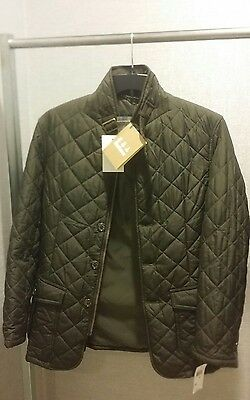 Barbour Men's Tailored Fit Quilted Lutz Dark Green Olive Jacket  Medium Nwt