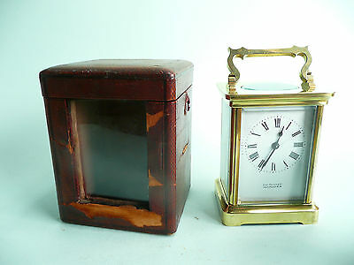 Antique 8 day brass carriage clock with original travelling case.....ref.10007