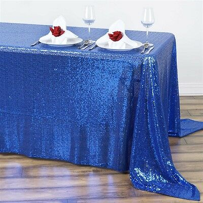 "90x132"" Royal Blue SEQUIN RECTANGLE TABLECLOTH Wedding Party Catering Linens"