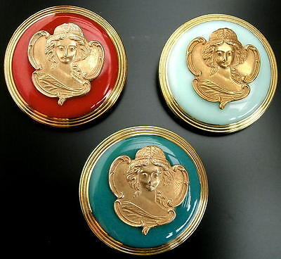 Collection of 3 Unique Czech Glass/Brass Buttons #G608 - A. MUCHA (1860-1939)!!
