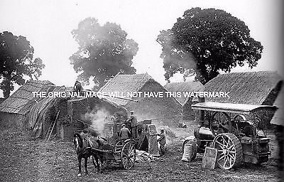 Traction Engine Driving Chaff Cutter Tring Herts 1928 Mounted Print Farming