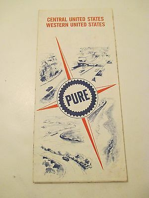 Vintage 1967 PURE OIL Central & Western US Oil Gas Service Station MAP