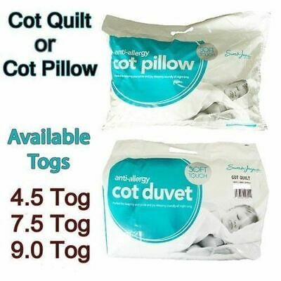 Anti-Allergy Toddler Baby Cot Bed Duvet Quilt 4.5, 7.5, 9 Tog, Cot Pillow