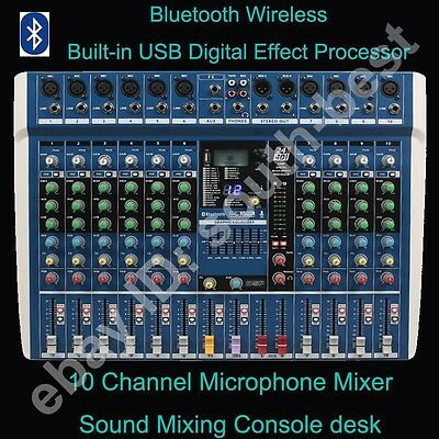 MICWL 10Ch Bluetooth Live Studio Audio Mixer Mixing Console DSP Built-in Effects